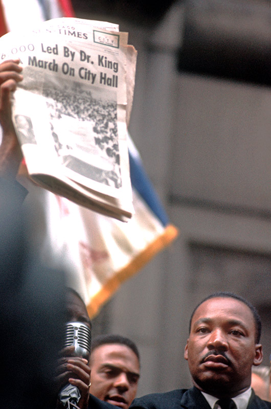 Martin Luther King Jr., With Newspaper, City Hall, Chicago, 1966