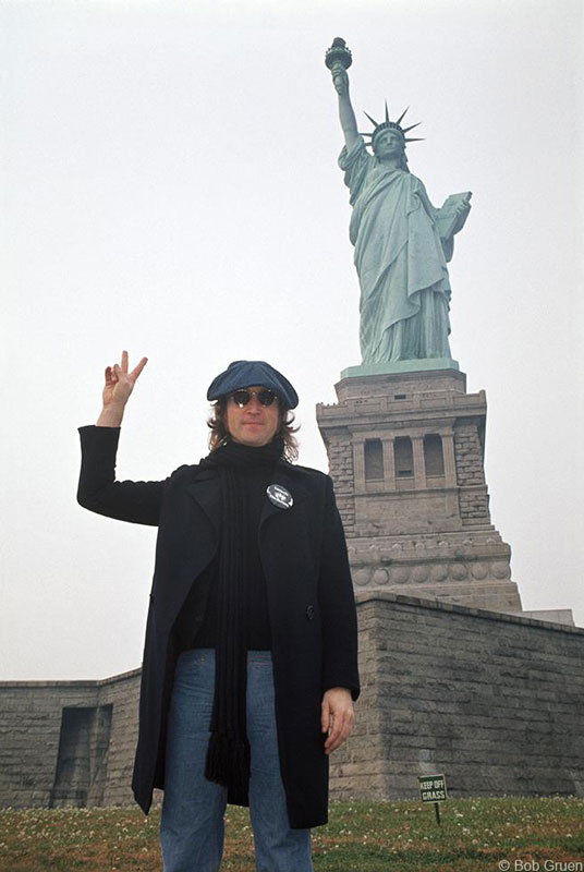 John Lennon, Statue of Liberty, NYC, October 30, 1974 (Color)