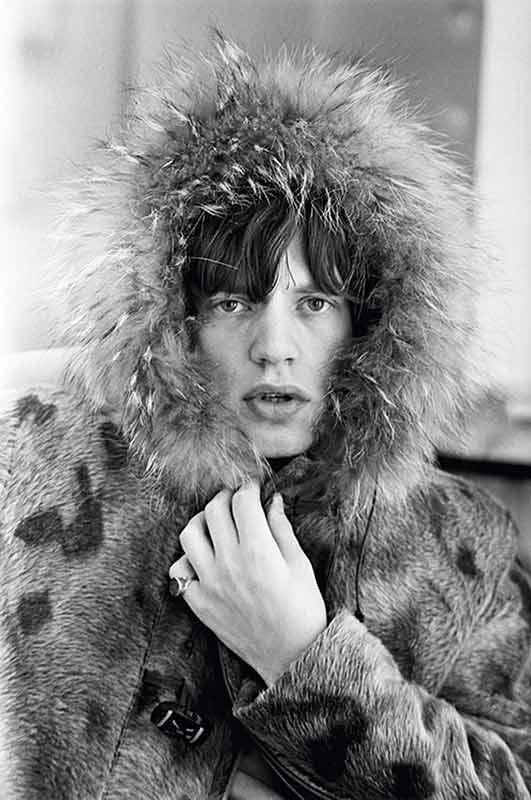Mick Jagger Pouts in Fur Hood, 1964