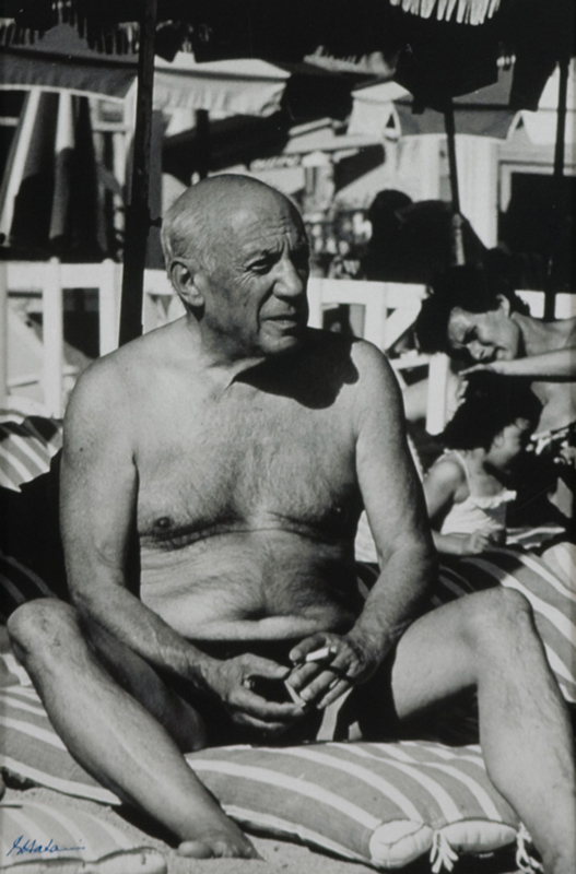 Pablo Picasso on the Beach, Cannes, c. 1960