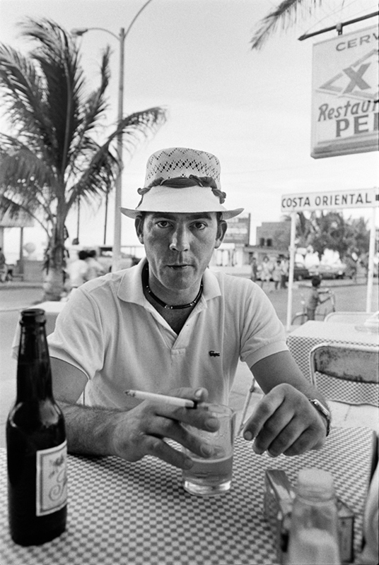Hunter S. Thompson at Pepe's, Cozumel, Mexico, 1974