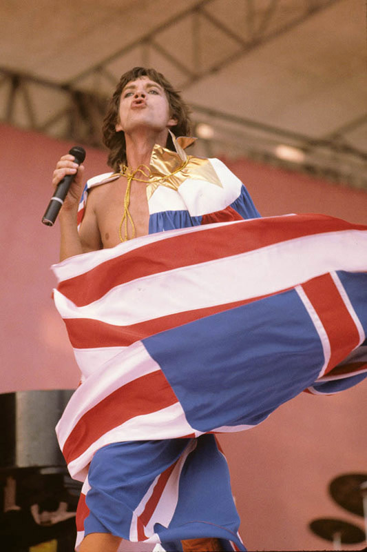 Mick Jagger Onstage with Flag, 1981