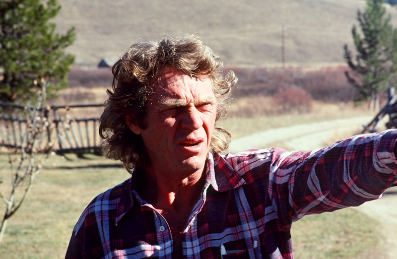 Steve McQueen in Flannel Shirt, Last Chance Ranch, Ketchum, ID, 1978