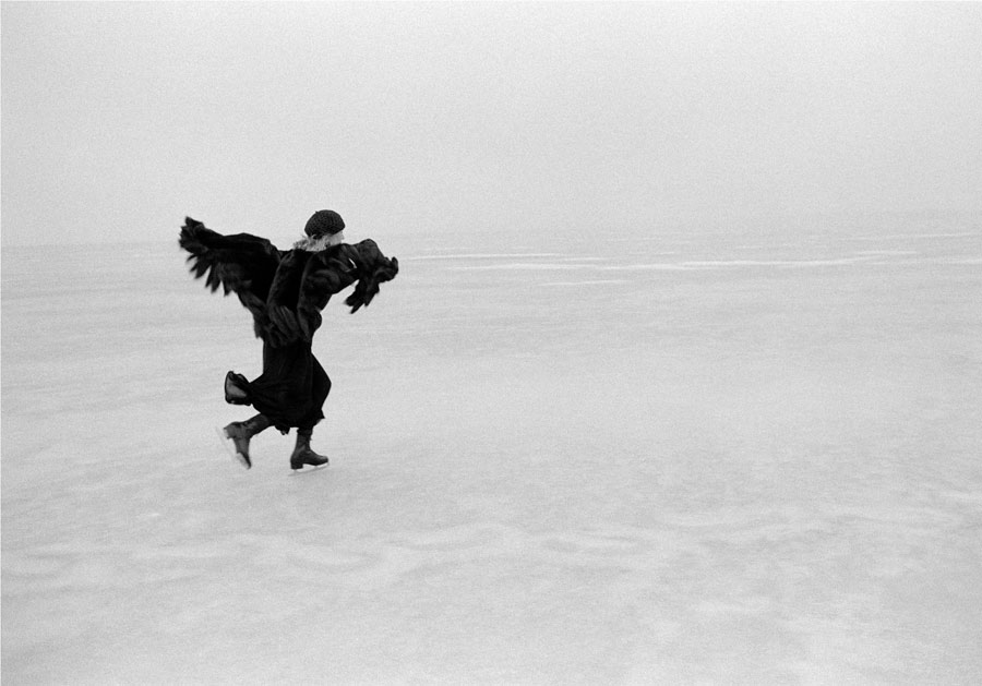 Joni Mitchell Skating on Lake Mendota, WI, 1976 (Wings)