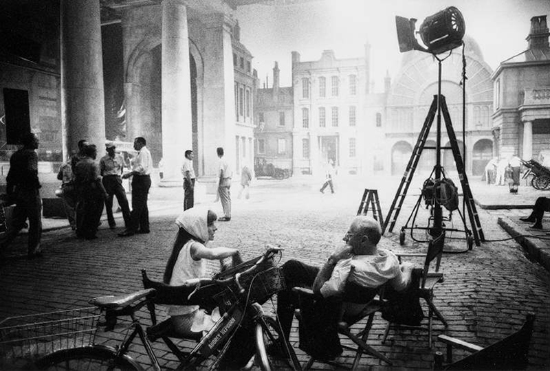 Audrey Hepburn and George Cukor on the Set of My Fair Lady, 1964