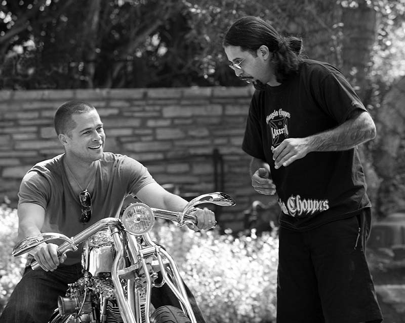 Brad Pitt, Alan Lee and Custom Chopper, CA, 2003