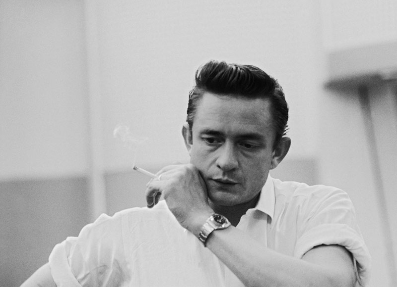 Johnny Cash with Cigarette (hand on cheek), Columbia Studios, Los Angeles, CA, 1961