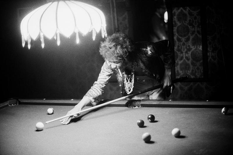 Jimi Hendrix Playing Pool, Los Angeles, 1967