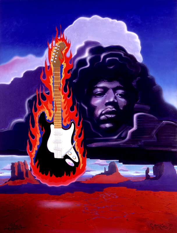 Jimi Hendrix with Flaming Guitar, 1987