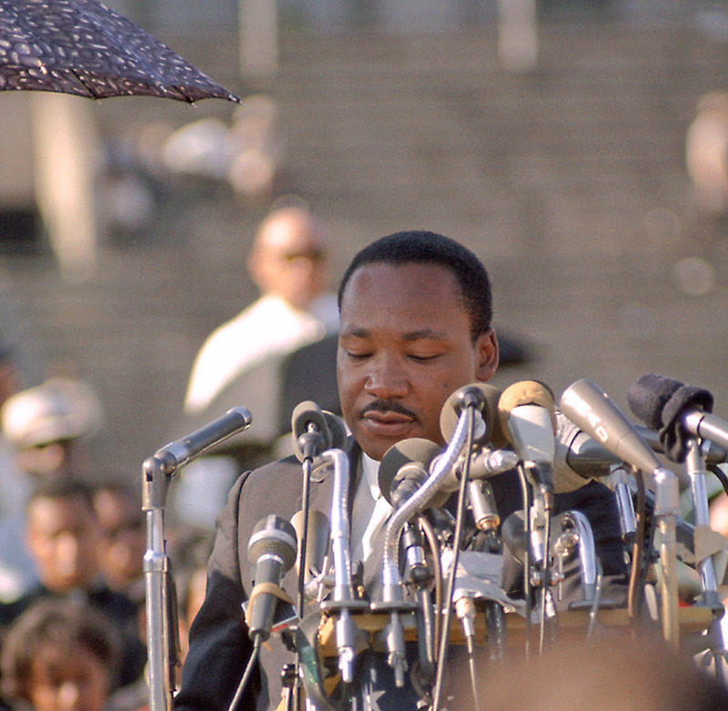 Martin Luther King Jr., Speaking at Rally, Soldier Field, Chicago, 1966 (Head Down)