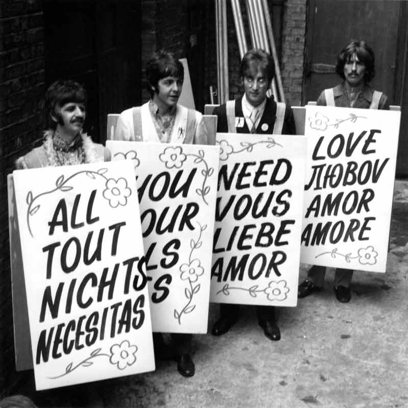 The Beatles With All You Need is Love Signs, Abbey Road, 1967