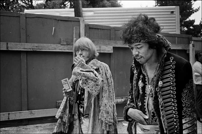 Brian Jones with Jimi Hendrix, Monterey Pop Festival, 1967