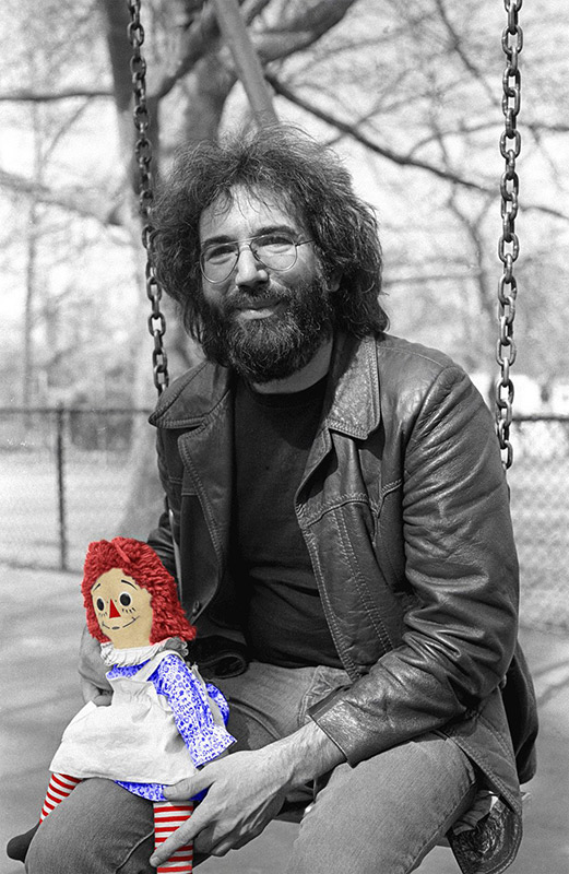 Jerry Garcia with Raggedy Ann Doll, Central Park, NY, 1975