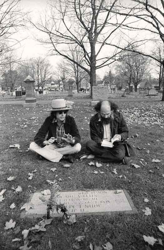 Bob Dylan & Allen Ginsberg at Jack Kerouac's Grave, Lowell, MA, 1975