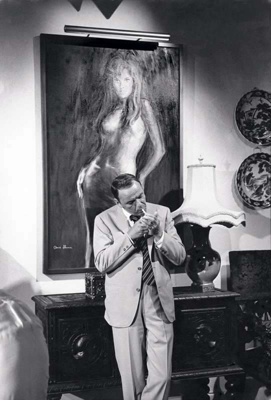 Frank Sinatra With Raquel Welch Painting, On the Set of The Lady in Cement, 1968