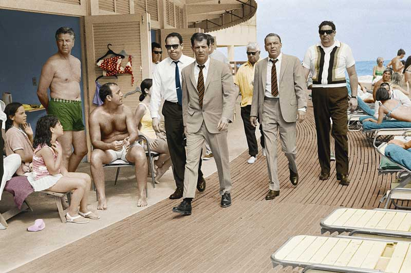 Frank Sinatra on the Boardwalk, Miami Beach 1968 - Colorized