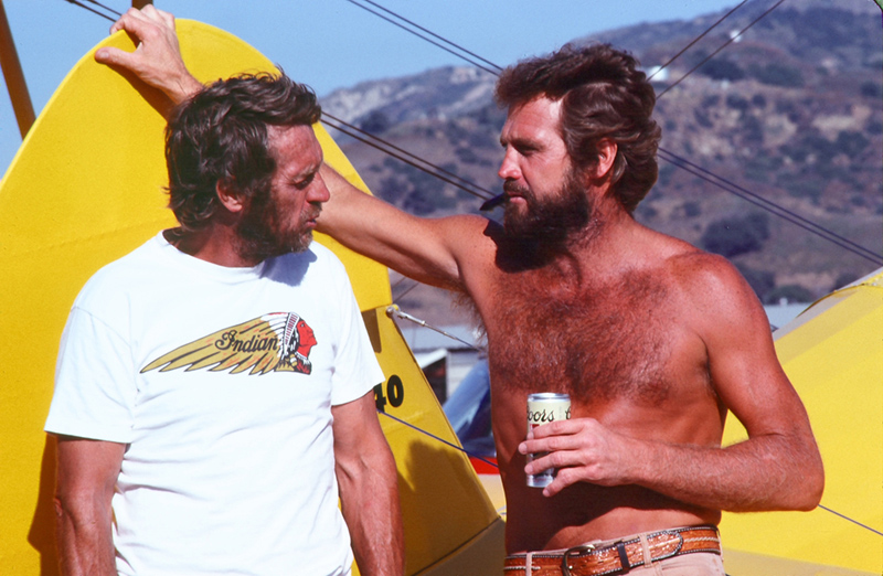 Steve McQueen and Lee Majors, Santa Paula Airport, CA, 1979