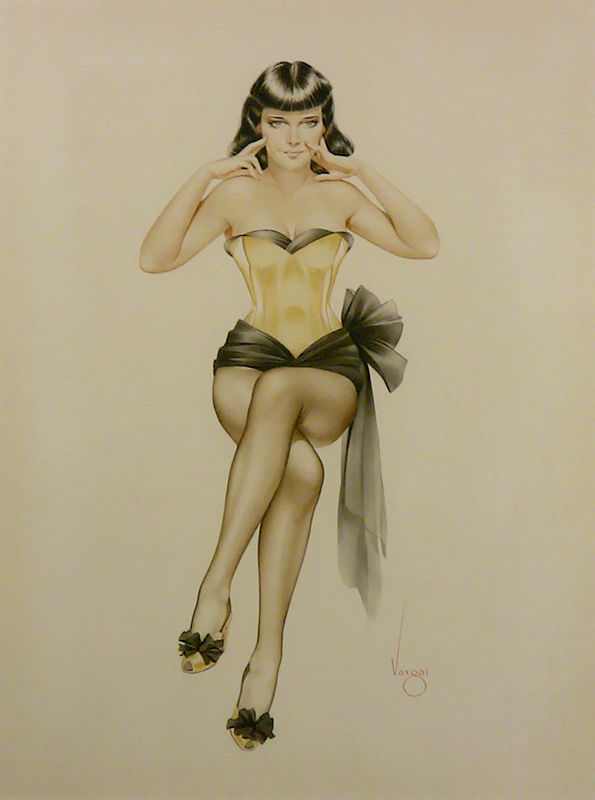 Brunette in Yellow Corset, c. 1950s
