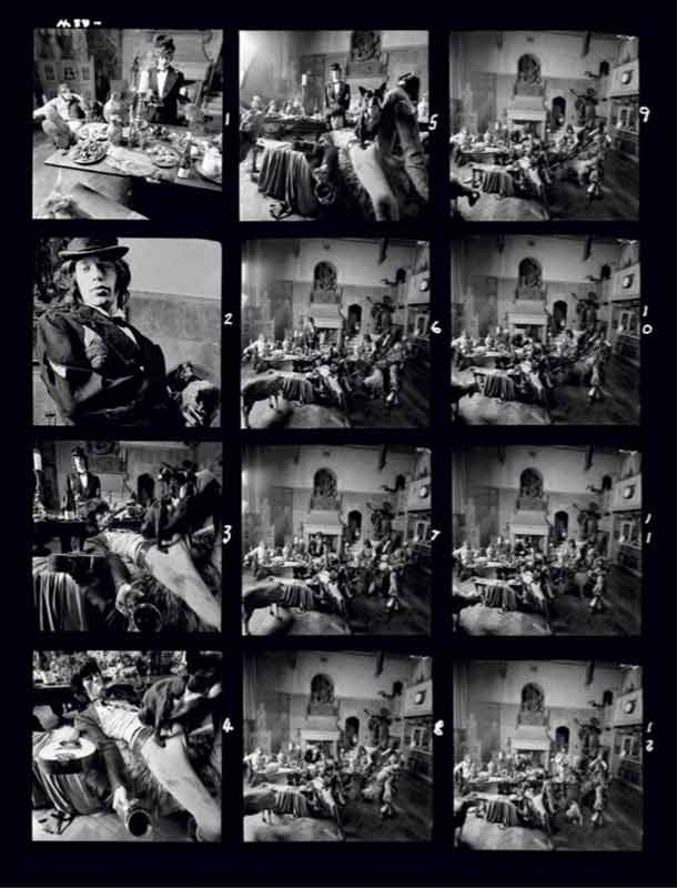 The Rolling Stones - Sarum Chase Contact Sheet, Beggars Banquet Album Cover Shoot, London, 1968