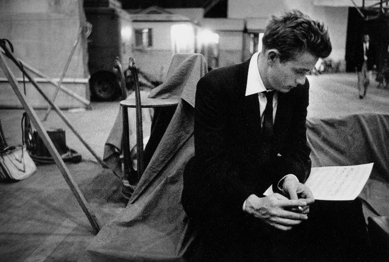 James Dean Reviewing Lines on the Set of Rebel Without a Cause, 1955