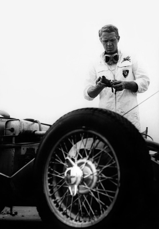 Steve McQueen Standing Over his #33 Lotus Eleven, Santa Barbara Road Race, 1959