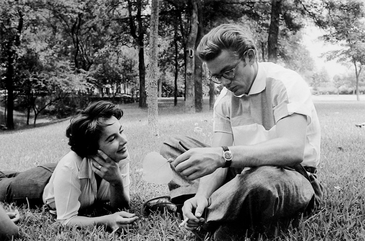 James Dean & Elizabeth Taylor Relaxing in the Grass While Making Giant, Marfa, TX, 1955