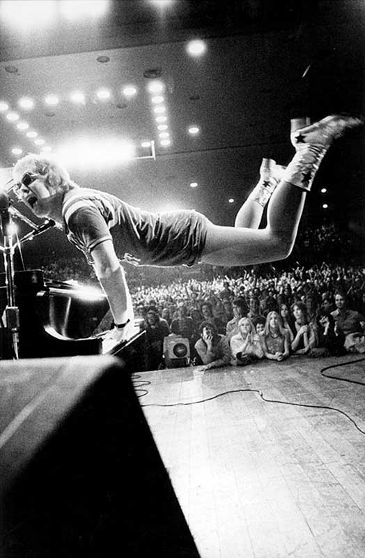 Elton John Jumping While Playing Piano, Early 70s