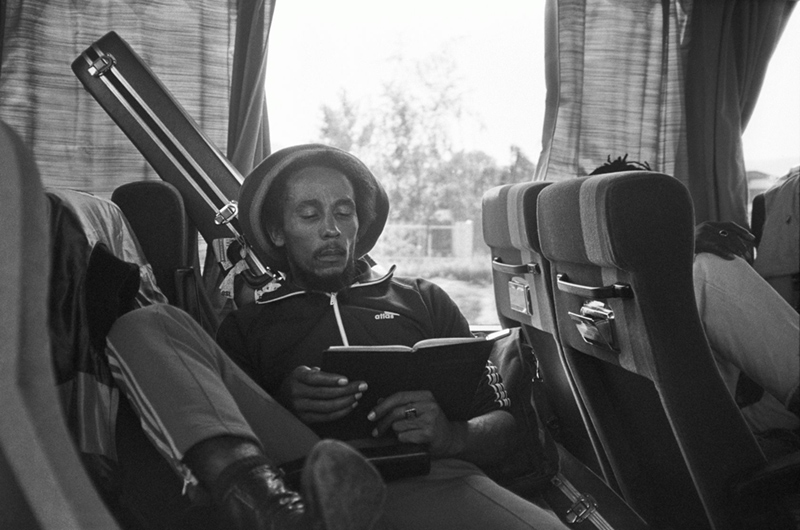 Bob Marley, Reading the Bible on the Tourbus, Milan, 1980