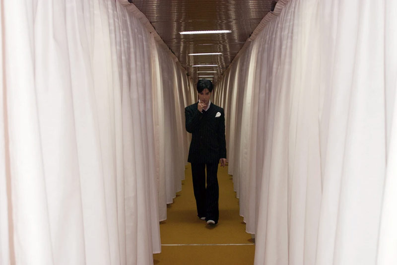 Prince Backstage in Milan, Walking Down White Curtain Hallway, Italy, 2002