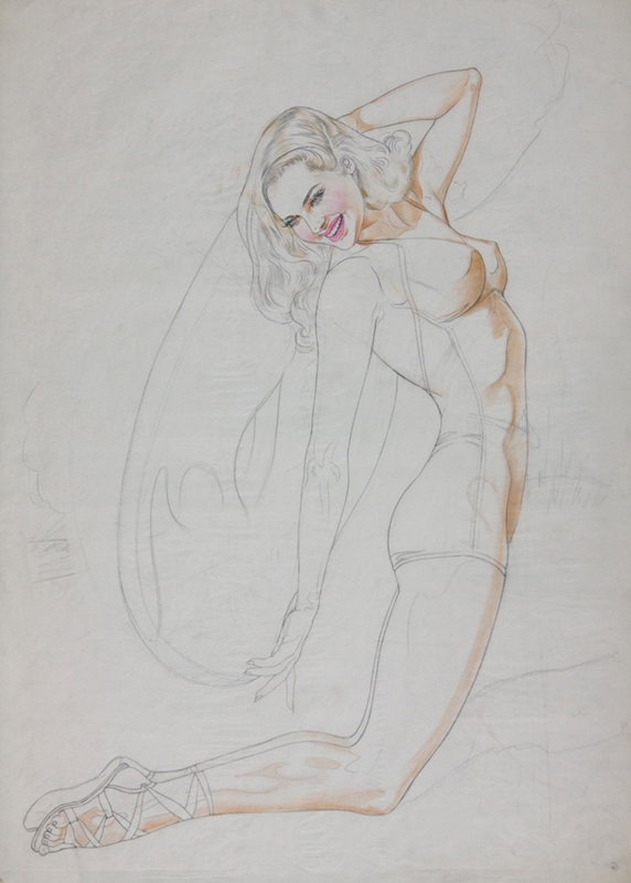 Study of a Young Girl Kneeling in a Bathing Suit, 1948