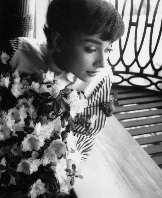 Audrey Hepburn Portrait with Flowers, Los Angeles, 1953
