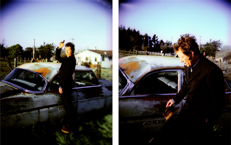 Tom Waits Portraits by a Vintage Car Diptych, Sonoma County, CA, 1999