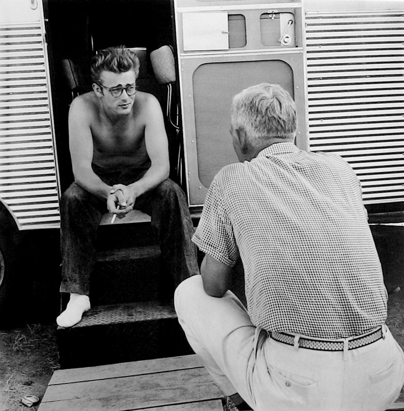 James Dean Talking to Director George Stevens Behind the Scenes on the Set of Giant, TX, 1955