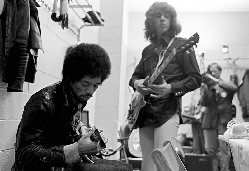 Jimi Hendrix and Mick Taylor Backstage at MSG, 1969