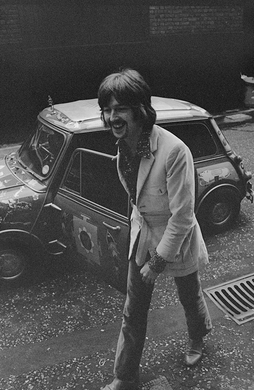 Eric Clapton with Psychedelic Mini Cooper, London, 1968