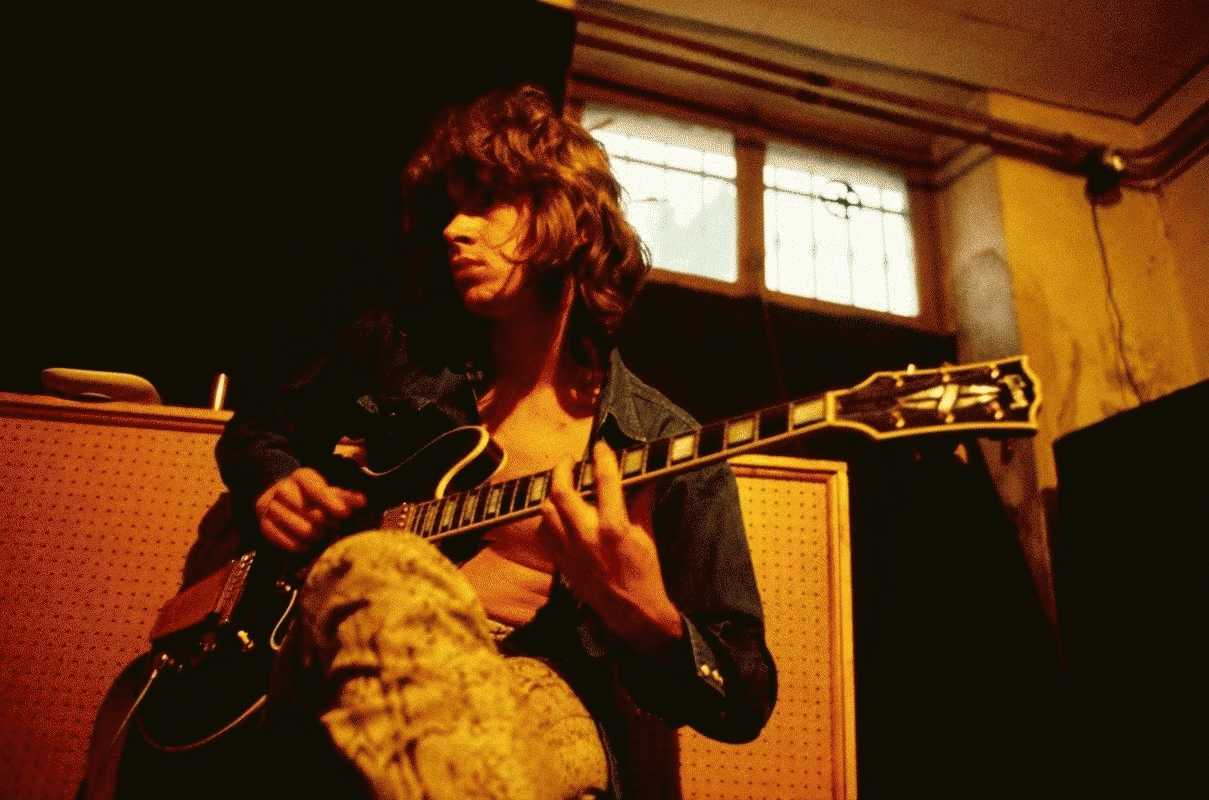 Mick Taylor Recording in the Basement Studio, Nellcôte, France, 1971