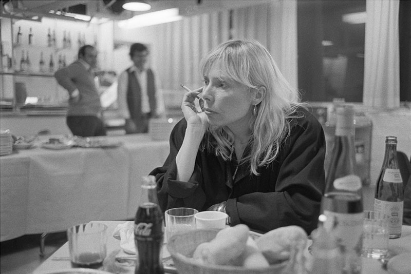 Joni Mitchell in a Genoa Cafe, Italy, 1983