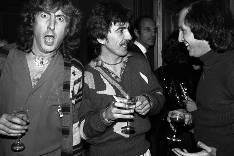 Eric Idle, George Harrison and Stuart Lerner, New Years Eve, Chiswick, 1980
