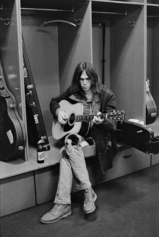 Neil Young Rehearsing Backstage, Philadelphia, 1970