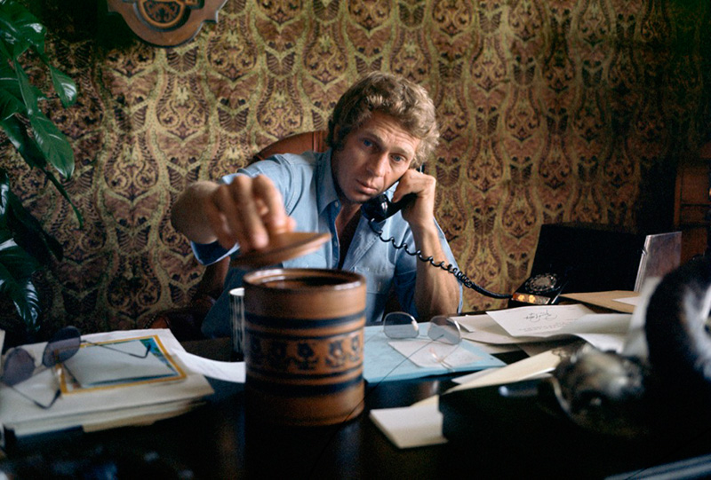 Steve McQueen in His Hollywood Office, c. 1968