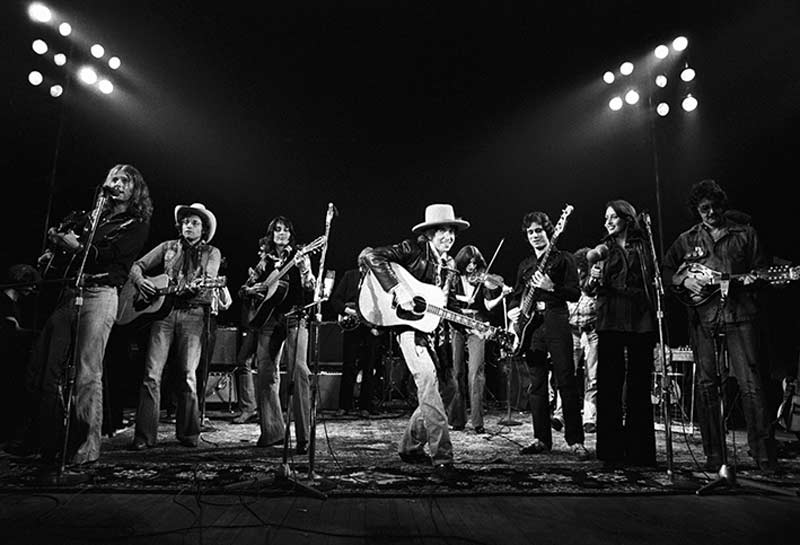 Bob Dylan Smiling with The Rolling Thunder Revue Band Onstage, 1975