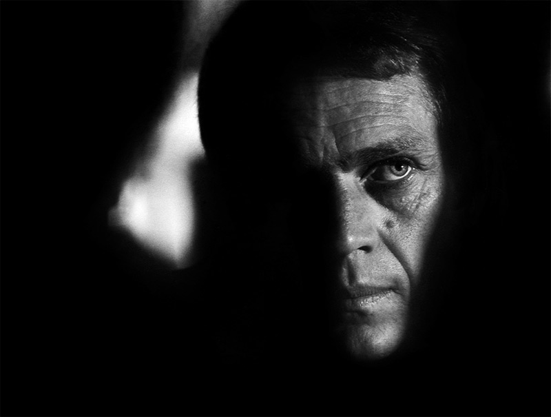 Steve McQueen Portrait in Deep Shadows (Closeup), on the Set of Bullitt, San Francisco, 1968