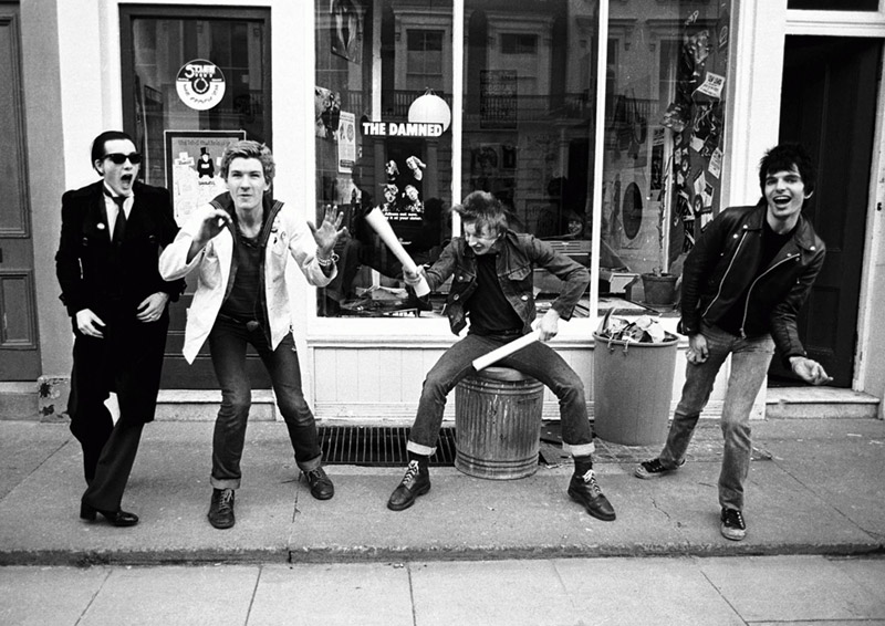 The Damned Group Portrait Outside Stiff Records, 1977