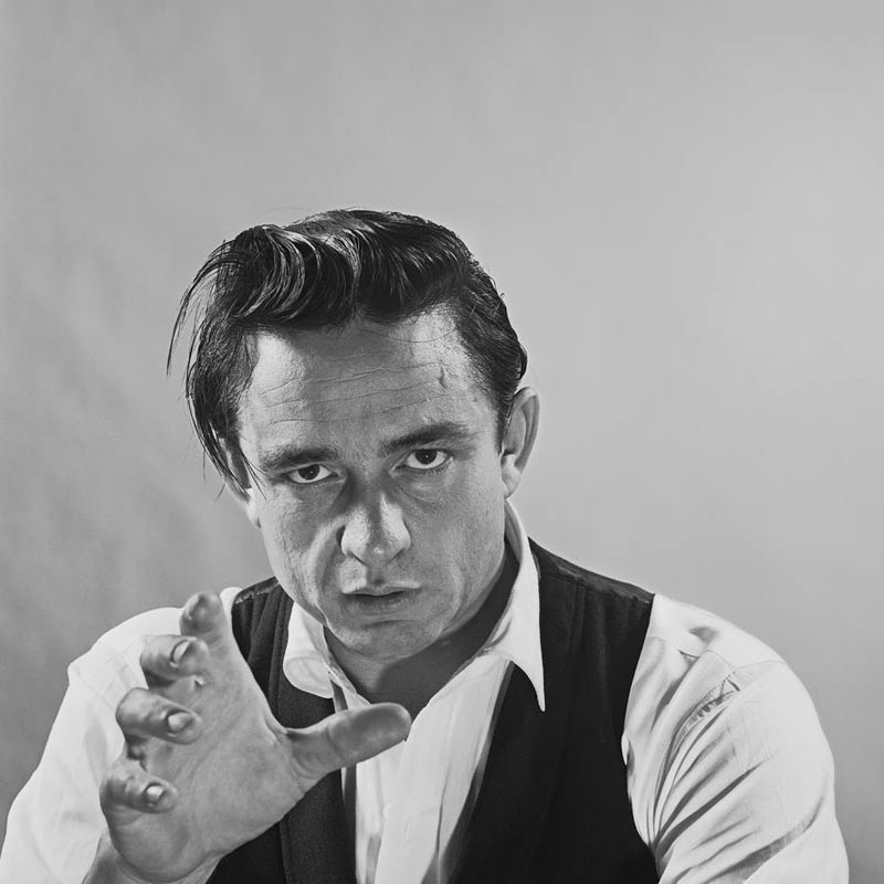 Johnny Cash Portrait with Hand Reaching, Photo Studio, 1960