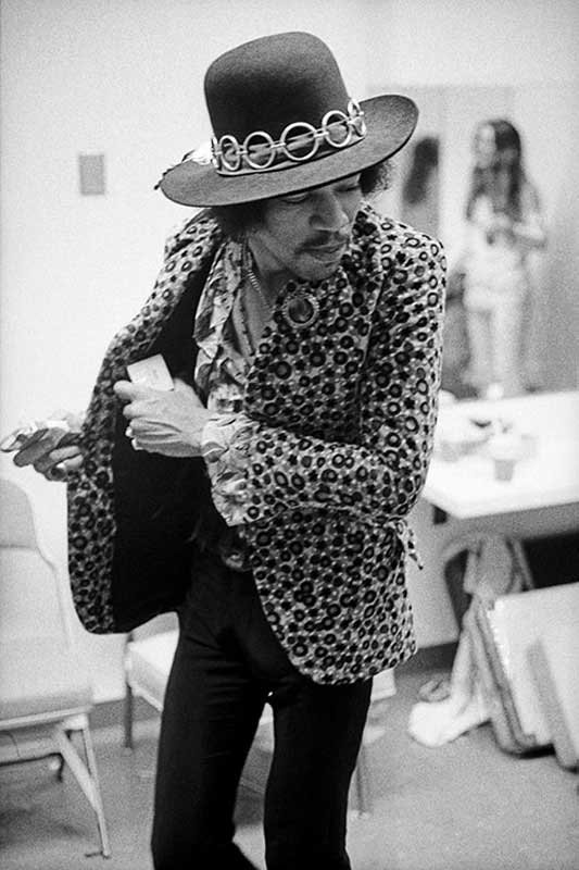 Jimi Hendrix Backstage with Hat, Anaheim, CA, 1968