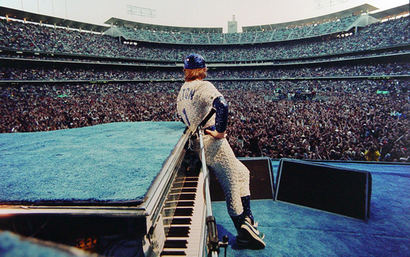 Elton John Leaning on Piano, Dodger Stadium, 1975