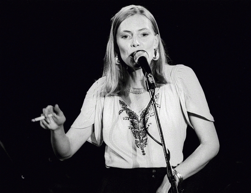 Joni Mitchell Performing (with Cigarette), Boston Music Hall, 1976