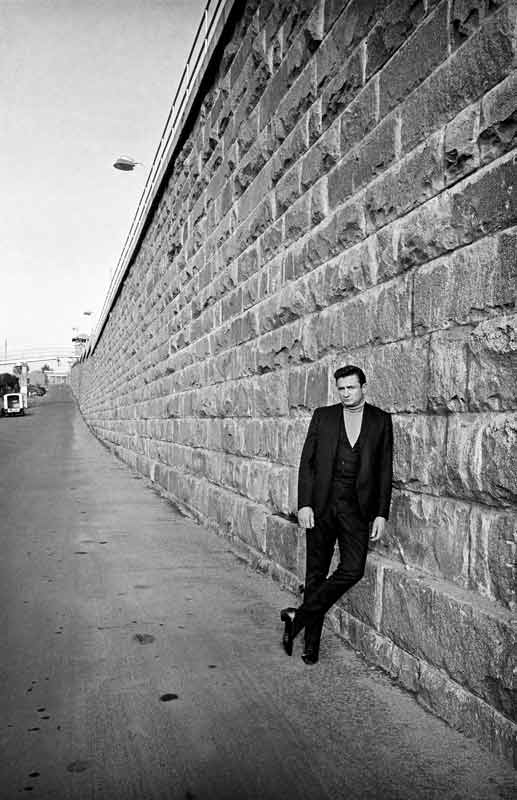 Johnny Cash Leaning Against Wall in Front of Folsom Prison Folsom Prison Blues Single Cover, Folsom, CA 1968