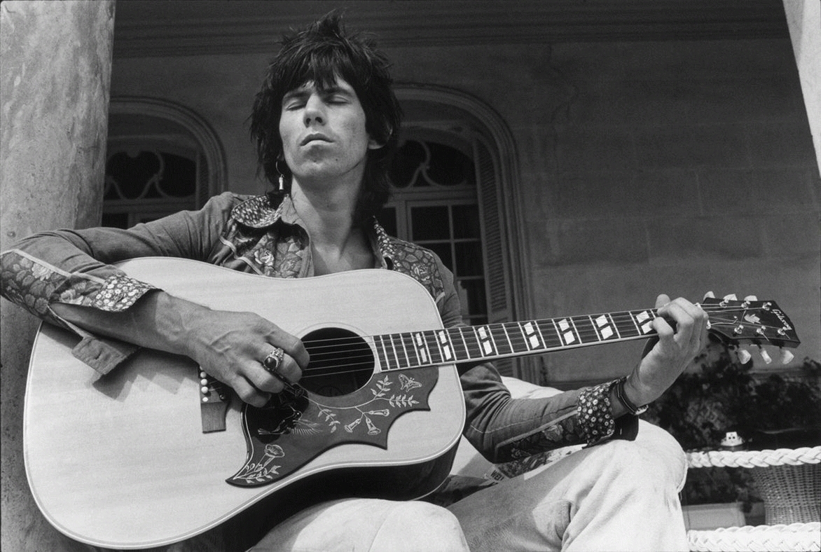 Keith Richards Playing Guitar Outside with Eyes Closed, Nellcôte, France, 1971
