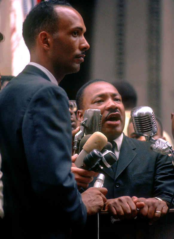 Albert Raby & Martin Luther King Jr., at the Podium, City Hall, Chicago, 1966